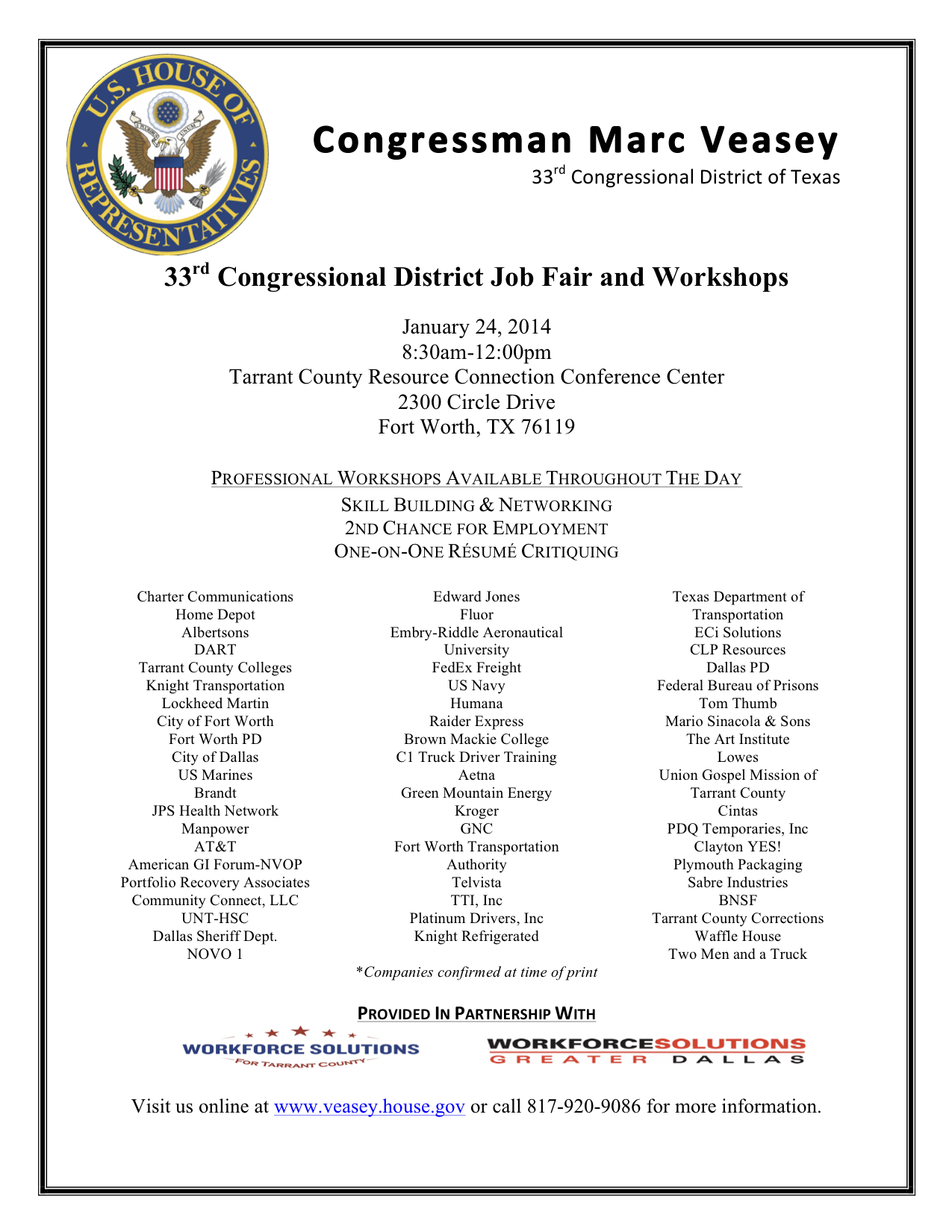 33rd Congressional District Job Fair | Congressman Marc Veasey