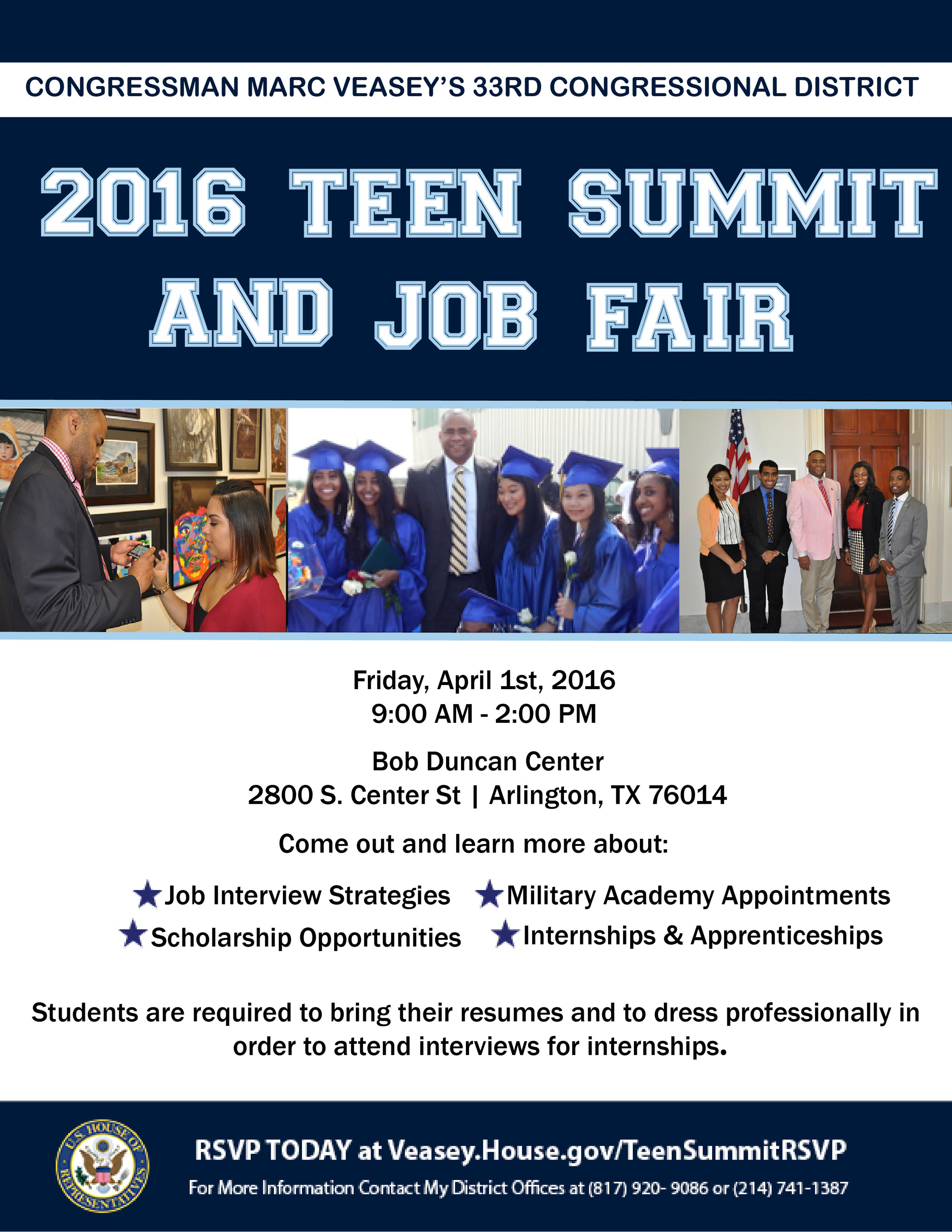 3rd annual 33rd congressional district teen summit job fair congressman veasey s 2016 teen summit